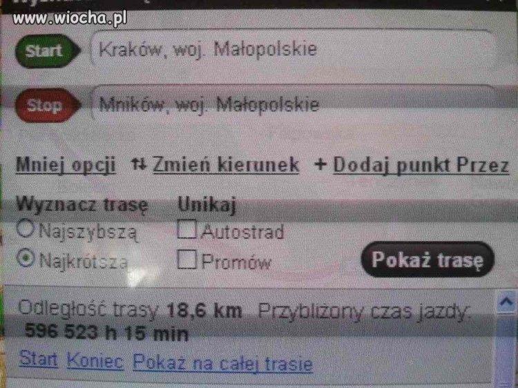 Czas przejazdu 18km po polskich drogach..