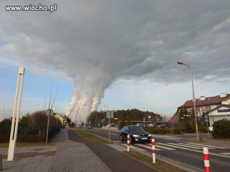 Smog w Kleszczowie - zasila PGE