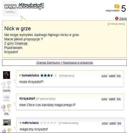 Krzysztof szuka nicku do gry